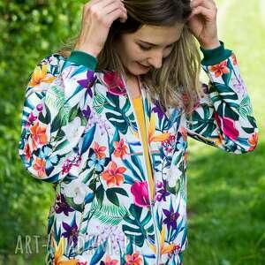 bomberka, kurtka damska, kurtka wiosenna bomber, softshell, kwiaty jacket