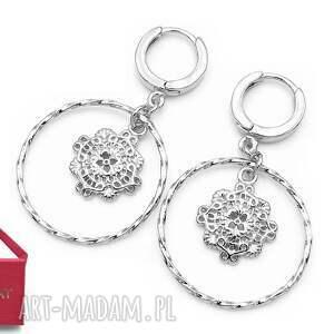 srebrne kolczyki koła obręcze z ornamentem, srebrne, kolczyki, koła