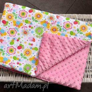 Kocyk Łąka różowy, bawełna, dziecko, minky