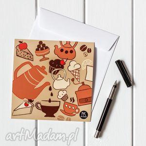 myk studio autorska kartka pocztowa czas na kawę, pocztówka, kartka, grafika