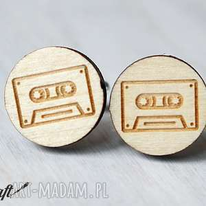 drewniane spinki do mankietów kaseta - spinki, mankietów, drewniane, kaseta