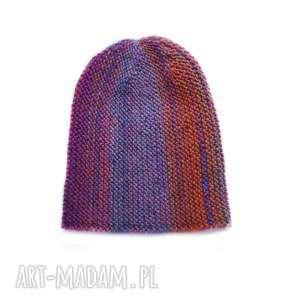 Czapka multikolor No. 5, czapka, damska, dziergana, męska, wełniana, kolorowa
