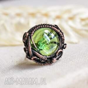green nest - pierścionek z miedzi i szkła, duży pierścionek