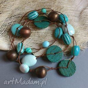 turkusowe - naszyjnik, korale, lato, turkus, ceramika