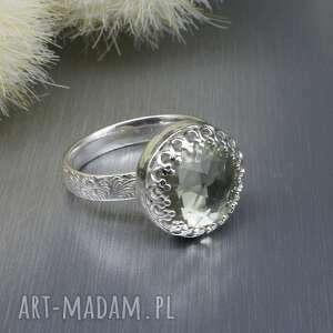 zielony ametyst pierścionek gleowine, srebrny, jasne srebro
