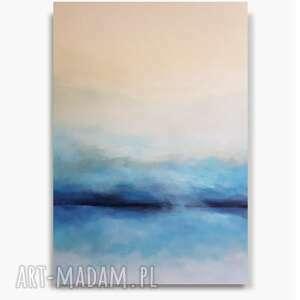 niebieska abstrakcja z bielą-obraz akrylowy formatu 60/90 cm, abstrakcja, akryl
