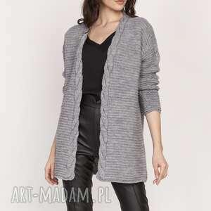 ciepły sweter - kardigan, swe127 szary, narzutka, ciepły, elegancki
