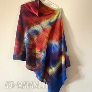 hand-made poncho kolorowa wełniana narzutka