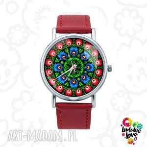 zegarek z grafiką wycinanka, folk, folklor, modny, ludowe, wzory, wycinanka