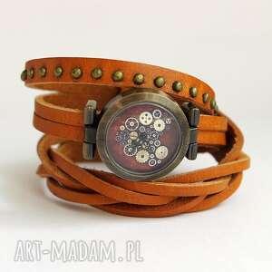 zegarki zegarek - steampunk heart skóra, nity, zegarek, skórzany, nity