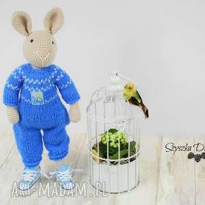 hand made zabawki króliczek nino szydełkowa przytulanka