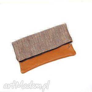 kopertówka skóra naturalna brązowa torebka mini - kopertówka, mała