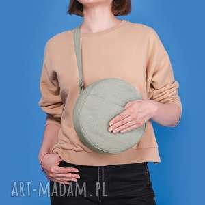 dotti - okrągła torebka na ramię seledynowa, okrągła, listonoszka, pojemna