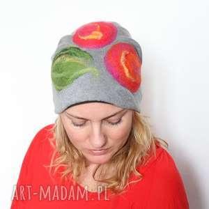 czapka handmade czesanką filcowane - wełna, ludowa, merynosy, czapka, folk, mama