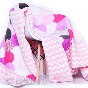 narzuta pink waves 155x205cm, młodzieżowa, różowa