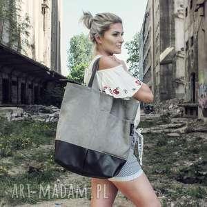 szara torba z kieszeniami, kobieca, zamszowa, ekologiczna, pakowna, kieszenie