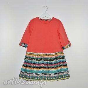 bawełniana sukienka z rękawem 3 4, sukienka, dresowa ubranka dla dziecka