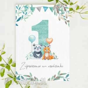 zaproszenie na 1 urodzinki z pandą roczek urodziny - 3 sztuki