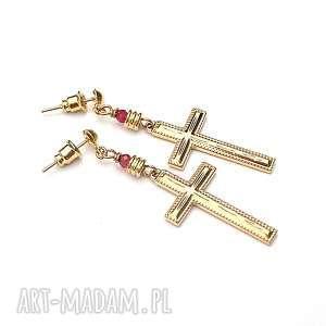 Cross vol. 16 /ruby/ 10.07.18 - kolczyki, krzyż, rubiny, metal, ki-ka