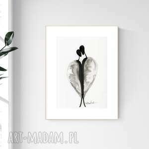 grafika a4 malowana ręcznie, minimalizm, abstrakcja czarno-biała, 2476586