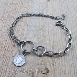moneta z łańcuszkami -bransoletka - srebro, oksydowane, bransoletka, moneta