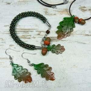Prezent Komplet biżuterii -jesienne liście , biżuteria-na-jesień, jesienna-biżuteria