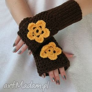 rękawiczki, mitenki brąz z żółtym kwiatkiem, mitenki, kwiat