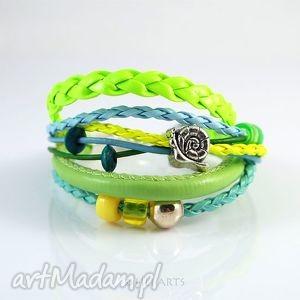 bransoletka - ślimak rzemienie, turkusowa, zielona, neonowa