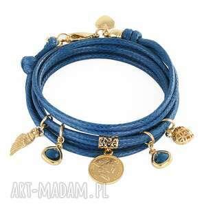 handmade bransoletki twine with charms - navy blue