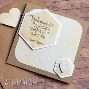 handmade kartki kartka ślubna:: małżeństwo to diament:: yellow