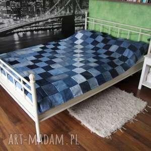 Narzuta dżinsowa na łóżko patchwork denim, narzuta-na-łóżko, patchwork,