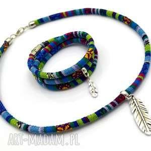 bransoletka i naszyjnik boho azteq feather, boho, etniczny, piórka