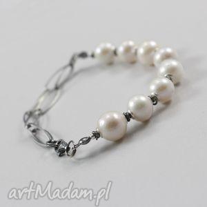 perła robaczywka i srebro - bransoletka, perła, perły, robaczywka, oksydowane