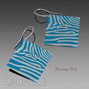 zebra in blue, aluminium, srebro, zebra, anodowane, romby, grawerowane