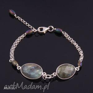 piękna bransoletka z labradorytu monle - turkusowe, biżuteria