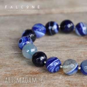 Niezwykle Niebieska, bransoletka, agat, kule, kamień, fasetowane, srebro