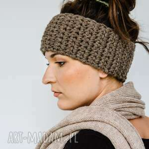 Opaska zimowa hand made czapki hermina na włosy, wełniana opaska
