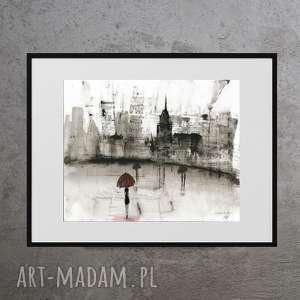 dom grafika 30x40 cm wykonana ręcznie, plakat, abstrakcja, elegancki minimalizm