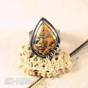 maligano, słońce i skały, jaspis srebrny pierścionek, duży pierścionek
