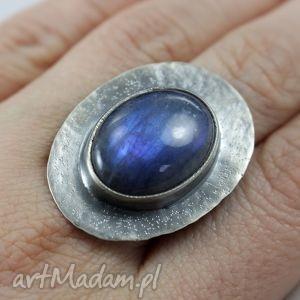 labradoryt niebieski i srebro - pierścionek