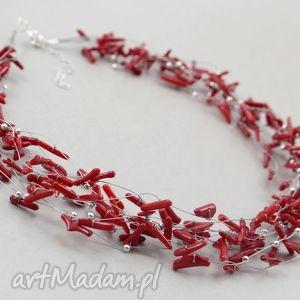 czerwony koral w oplocie - naszyjnik rezerwacja, koral, srebro, linki