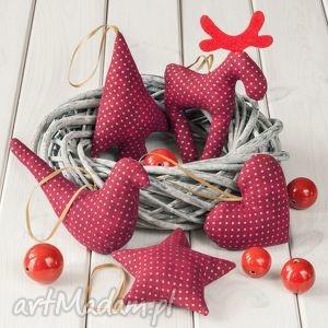 dekoracje ozdoby świąteczne bordowe w złote kropki, ozdoby, dekoracja, święta
