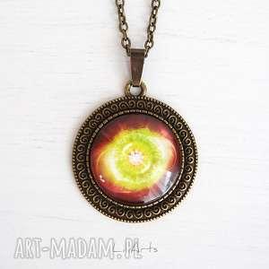 hand-made naszyjniki medalion, talizman - czakra serca antyczny brąz