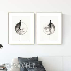 zestaw 2 grafik 30x40 cm wykonanych ręcznie, grafika czarno-biała, abstrakcja