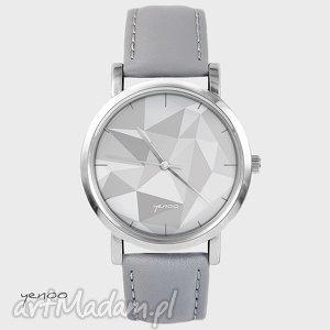 zegarek, bransoletka - geometric szary, skórzany, bransoletka, skórzany