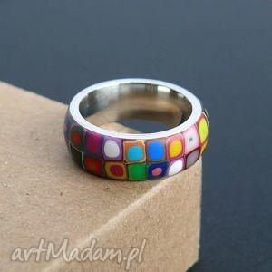 stalowa obrączka z polymer clay, obrączki, pierścionki, kolorowe, tęczowe