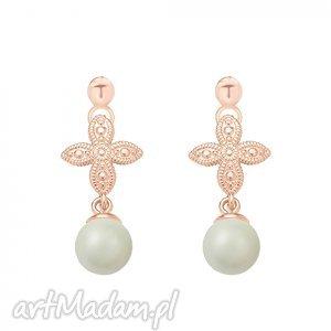 handmade kolczyki kolczyki z różowego złota z rozetką i szarą perłą swarovski® crystal