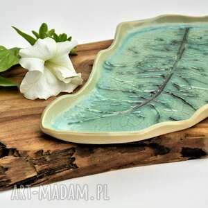 ręcznie robione ceramika patera ceramiczna - talerz dekoracyjny liść