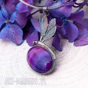 srebrna ważka z fioletowym agatem a636, ważka, naszyjnik