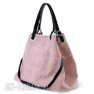 torebka damska skórzana vp 1032016 pastel pink, skóra, naturlane, pastelowe, różowa